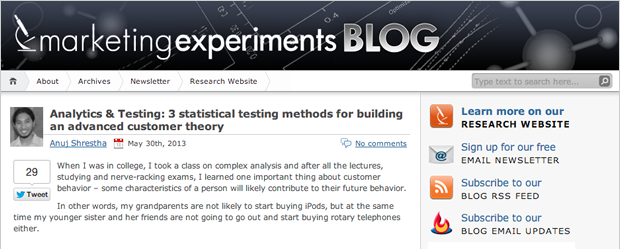Marketing Experiments Blog
