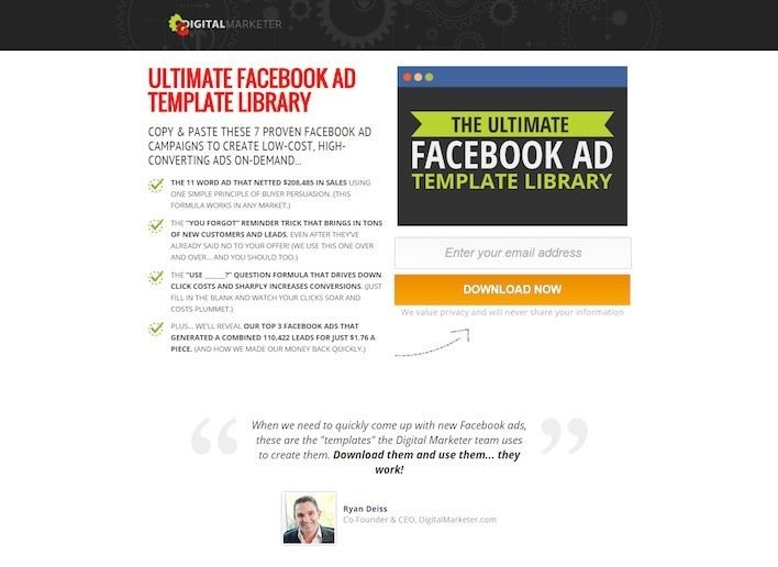 Lead Generation Landing Pages Examples From Experts Lander Blog - Facebook ad template library