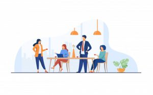 Employees communicating together, a key to positive collaboration.
