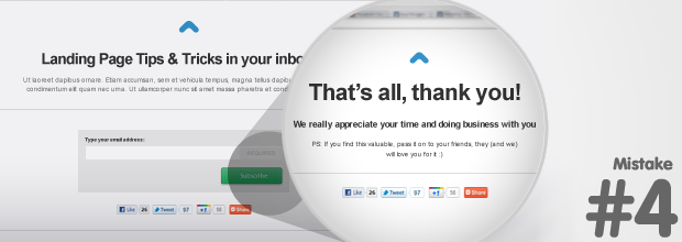 "Landing Page Mistake: Not using a customized ""Thank You"" page"