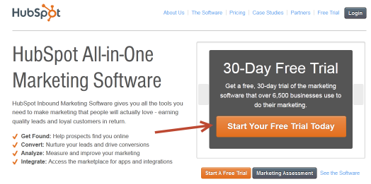 Hubspot home page Call to action example