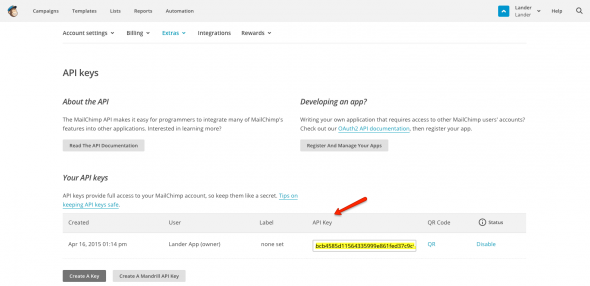 Lander and Mailchimp integration - step 5