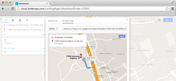 How to embed a google map into my landing page