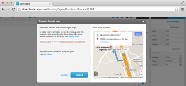 How to embed a Google Map into your Landing Page