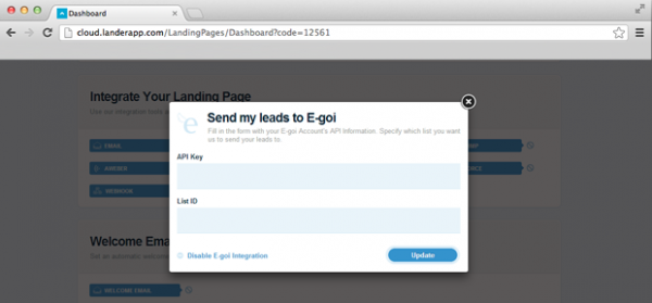 Integrate my Landing Page with E-goi