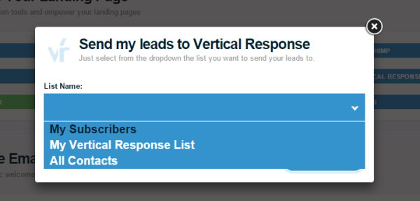 Integrate your Landing Page with your Vertical Response